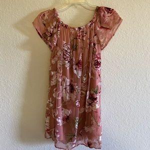 Off the shoulder floral velvet dress